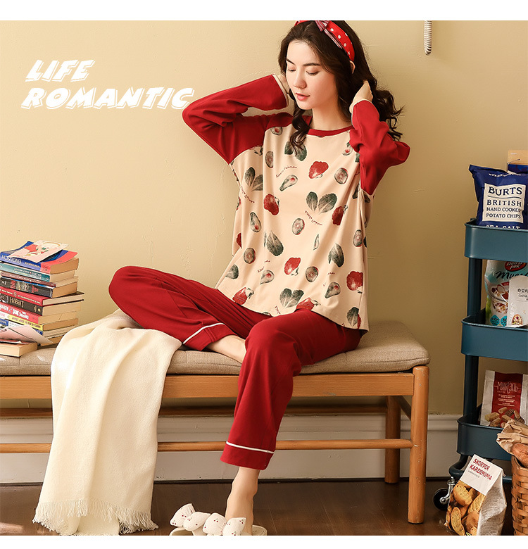 Women Pajamas Sets Spring Autumn Long Sleeve Print Cute Cotton Sleepwear Big Girl Pijamas Mujer Leisure Student Pajama Tracksuit 40