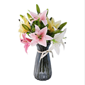 1pc Real Touch 3 artificial flowers lilies plastic home wedding decoration home table accessories party supplies Dried flowers