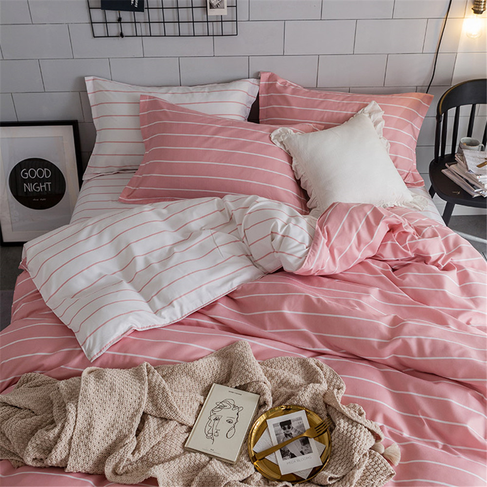 Simple King Size Bedding Set Home Textile Bed Duvet Cover Queen Pink White Stripe Comforter Bed Sets For Girl