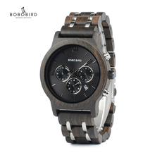 Chronograph BOBO BIRD Men Watch relogio masculino Calendar Quartz Watches Wood Luxury Timepieces in Wooden Gift Box Drop Ship