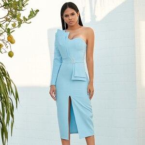 Image 4 - Adyce 2020 Neue Herbst Frauen Eine Schulter Berühmtheit Abend Party Kleid Vestido Sexy Blau Liebsten Schärpen Langarm Club Kleid
