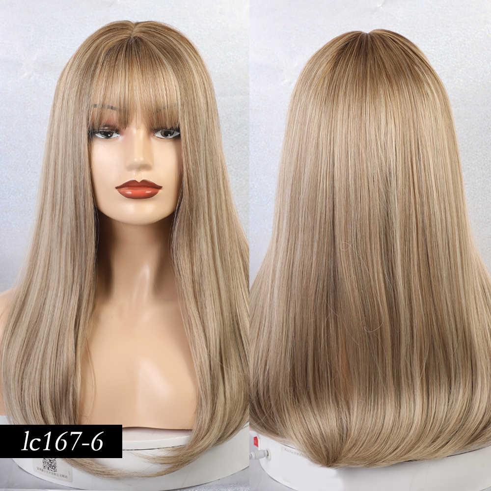 """Блонд Единорог 18 """"Длинные прямые женские парики с челкой Омбре коричневые синтетические парики из натуральных волос для женщин афро-американских"""