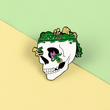 Moss Skull Punk Pins Kitten Mushroom Grass Enamel Metal Pins Skeleton Brooches Badges Lapel Clothes Pins Women Jewelry Gifts gothic skull skeleton brooches metal pin button badges enamel hand women sweater kiss brooch black pins halloween jewelry gifts