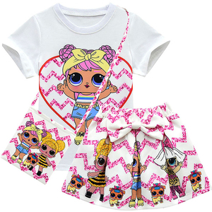 Детские комплекты одежды для девочек с изображением единорога; Летняя одежда для маленьких девочек; Футболка с короткими рукавами + платье ...