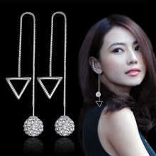 Crystal Drop Earrings Geometric Long Chain Ear Wire Brincos Fashion Women Accessories Jewelry 1 Pair Charming Jewelry цена