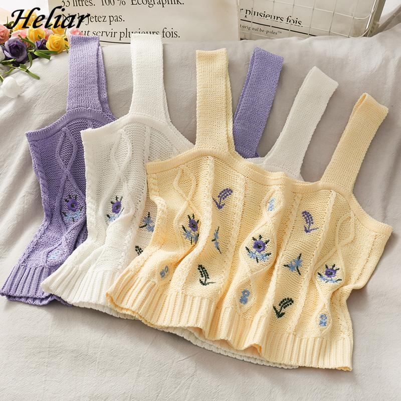 HELIAR Women Flower Embroidery Knitted Crop Tops Women Streetwear Camis Tube Tops Strappy Tanks Cute Tops For Women Summer