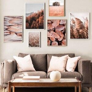 Осенняя картина с изображением листьев горного дерева Рид пшеничная стена холст картина скандинавские постеры и принты картины на холсте д...