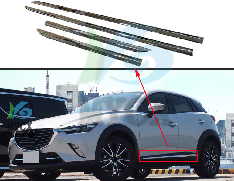 Chrome Molding Door Body Strips For <font><b>Mazda</b></font> <font><b>CX</b></font>-3 cx3 <font><b>CX</b></font> 3 2016 <font><b>2017</b></font> <font><b>2018</b></font> <font><b>Accessories</b></font> Trim Covers Car styling image