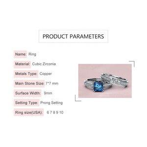 Image 5 - Rbnyd 2 senhoras de luxo romântico cristal anéis, quadrado elegante rosa ouro zircon casamento anéis de noivado, presentes de natal yr010