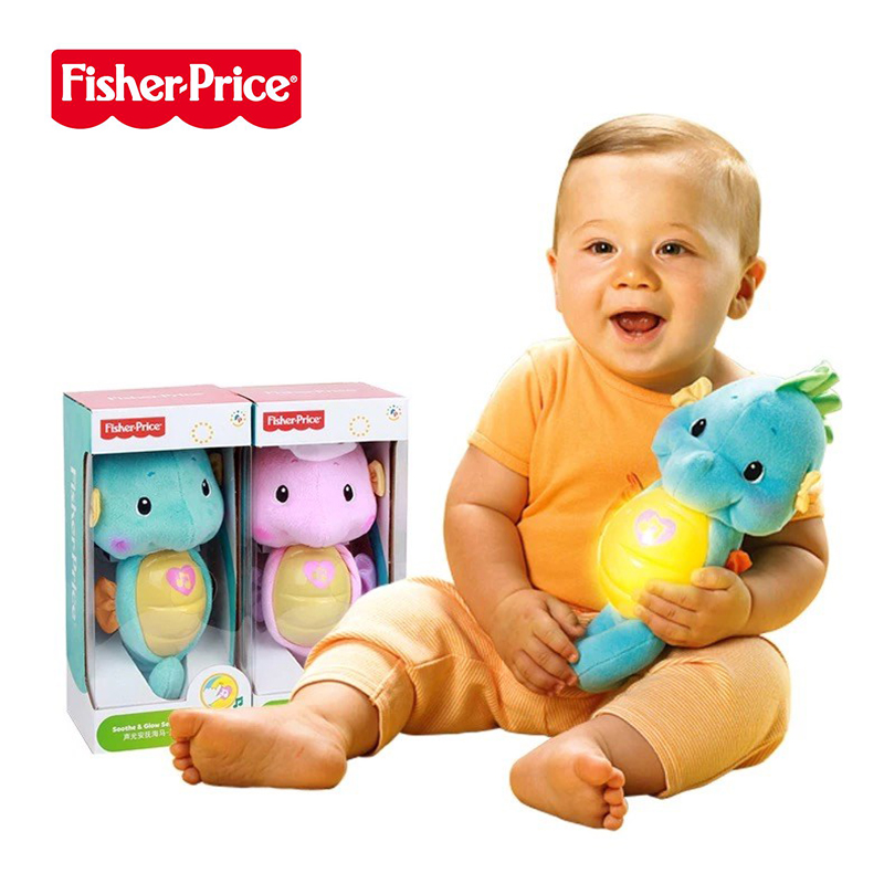 Original Fisher Price 0-12months Baby Musical Kids Toys Seahorse Appease Educational Toys Hippocampus Plush Peluche Doll Oyuncak