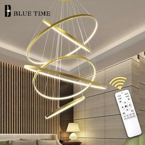 Image 2 - זהב & שחור & לבן מעגל מודרני LED תליון אור בית סלון חדר אוכל חדר מנורות LED תקרת תליון מנורה תליית מנורות