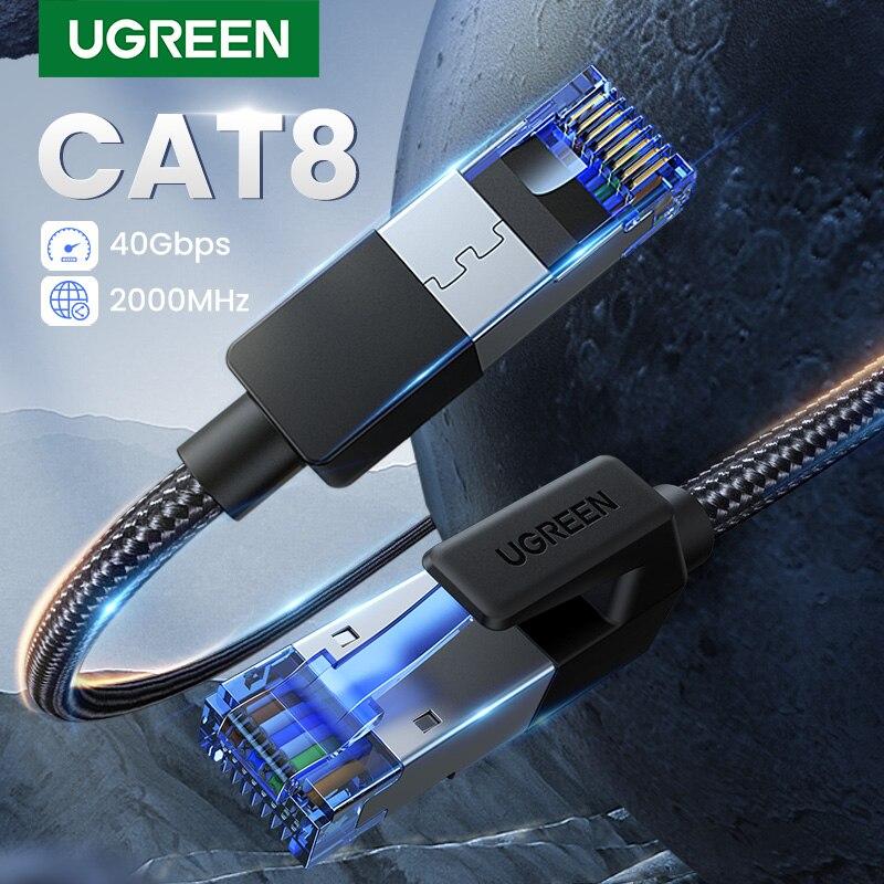 UGREEN Câble Ethernet CAT8 40Gbps 2000MHz CHAT 8 Réseaux Nylon Tressé Internet Lan Cordon pour Ordinateurs Portables PS 4 Routeur RJ45 Câble
