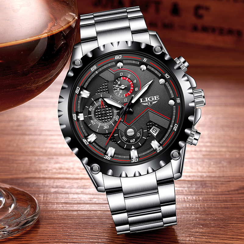 LIGE Fashion Business Mens Stainless Steel Waterproof Watch Men Military Sport Quartz Clock Male Chronograph Relogio Masculino