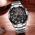 LUIK Fashion Business Heren Rvs Waterdichte Horloge Mannen Militaire Sport Quartz Klok Man Chronograaf Relogio Masculino