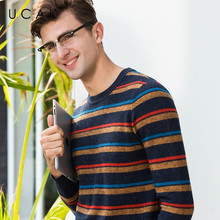 все цены на UCAK Brand 100% Merino Wool Sweater Men Pullover Men Fashion Striped Pull Homme Autumn Winter Thick Warm Cashmere Sweaters U3067 онлайн