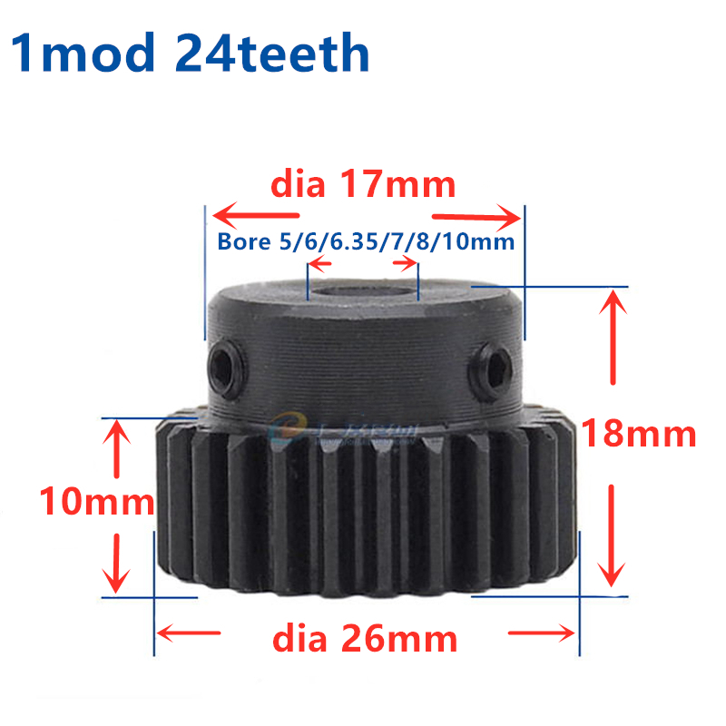 45# Steel Motor Gear Spur Pinion Gear 2Mod 24Tooth Thickness 20mm x 1Pcs