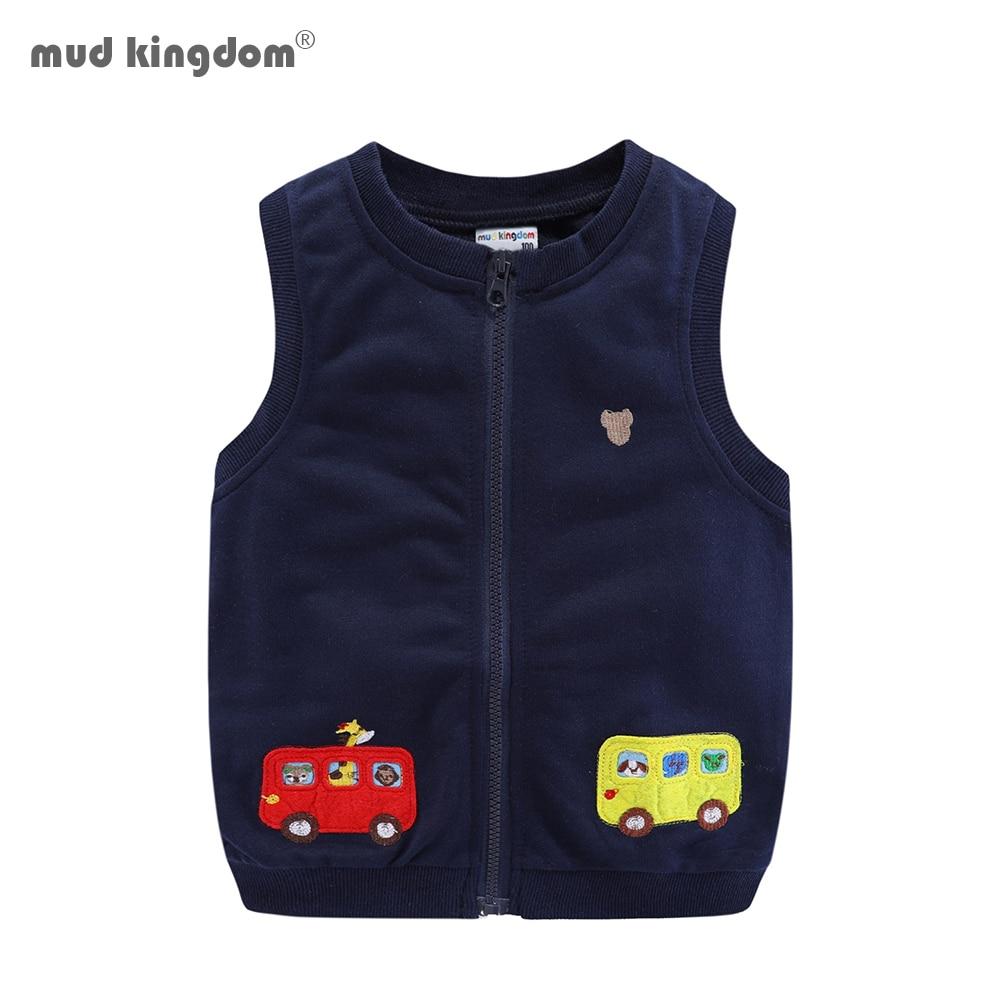 Mudkingdom Boys Vests Kids Jackets Cartoon Car Zipper 2020 Spring Autumn Sleeveless Jackets for Kids 1