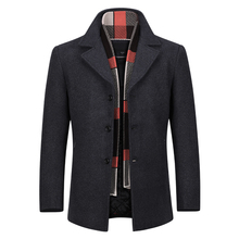 YOUTHUP Wool Mens Coat With Scarf Single Breasted Thick Coats Overcoat