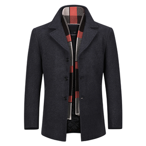 YOUTHUP Wool Men's Coat With Scarf Singl