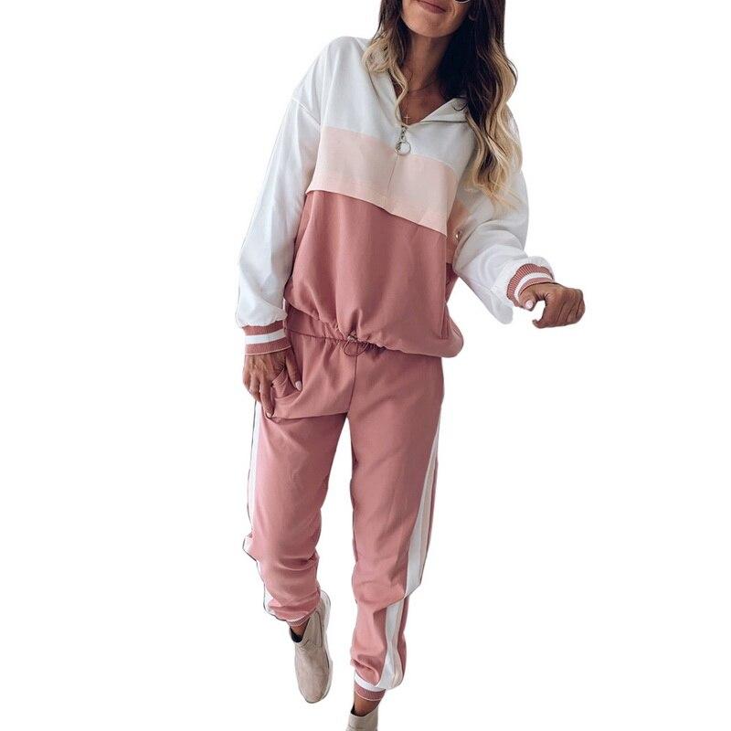 Pink Patchwork Casual Women Sweatshirt Spring 2019 Hoodies Long Sleeve Pockets Zipper Loose Running Sweatshirts
