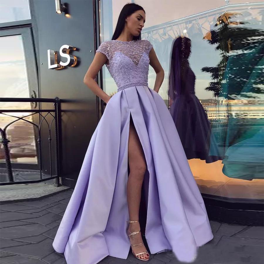 Lavender Side Split Prom Dresses Pearls Sheer Bateau Neck Cap Sleeves Evening Gowns vestidos de fiesta Floor Length Formal Dress