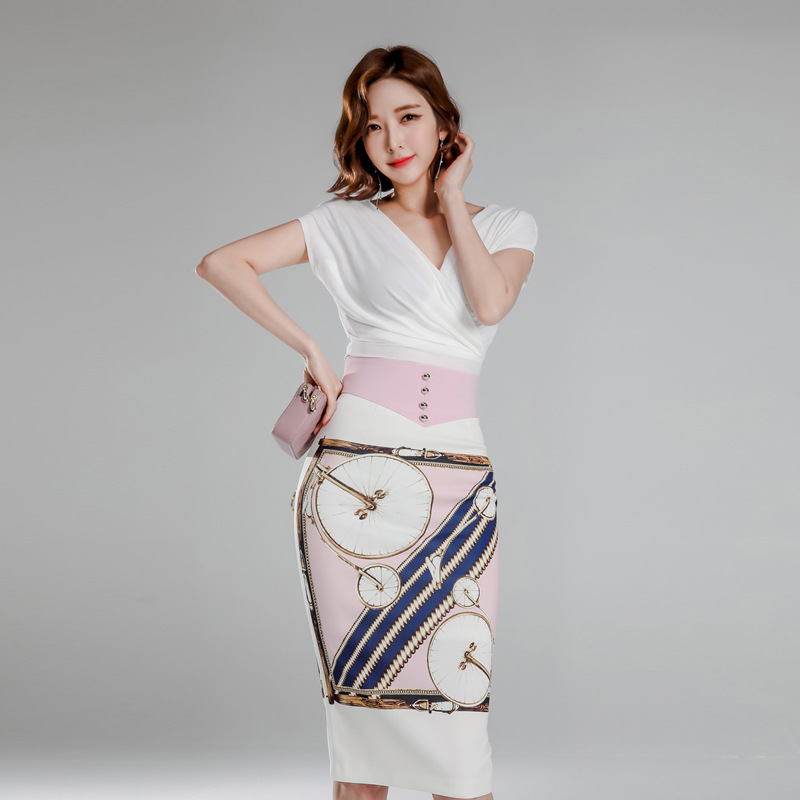 WOMEN'S Suit 2019 Summer New Products Debutante Elegant V-neck Shirt High-waisted Slimming Sheath Printed Dress Two-Piece Set