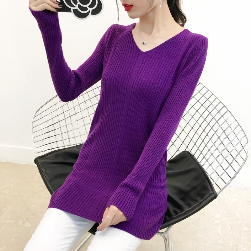 Long Solid Stripe Thick Knitted Sweater Pullover Pull Femme V-Neck Sweet Jumper Soft Women Fall Sueter Mujer Winter Long Sleeve