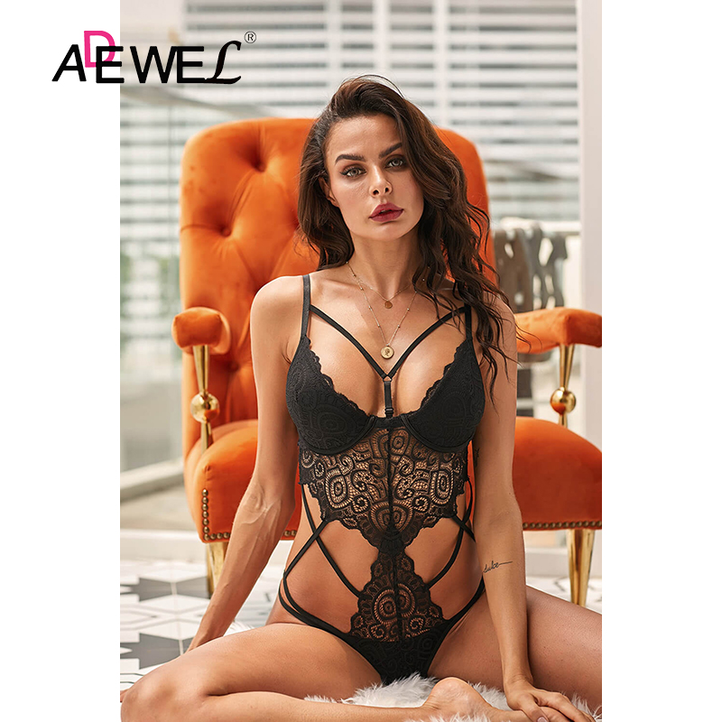 H78dfb008383e496182db57402fad0c42q - ADEWEL Sexy Black Royce Push Up Women Leotard Bodysuit Lace Cross Strap Kadın Mayo Body Suit Costume De Bain Femme 1 Piece