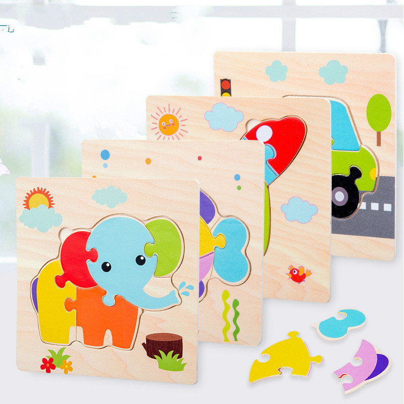 Jigsaw Puzzle Wooden Jigsaw Puzzle Small Gifts Learning Toys for Children 3D Puzzle Animal Kids Educational Toys Birthday Gifts