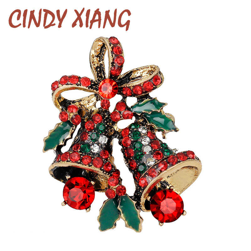 CINDY XIANG Lovely Two Bow Bells Brooches For Women Christmas Suit Pins Vintage Creative Gift Jewelry Coat Dress Accessories