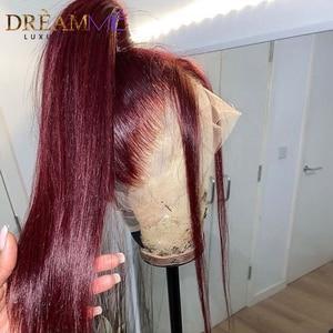 Image 2 - Prosto czerwona koronkowa peruka ludzki włos peruka głęboka część 13X4 Burgundy Remy włosy kolorowe peruka dla czarnych kobiet Preplucked 150% gęstości