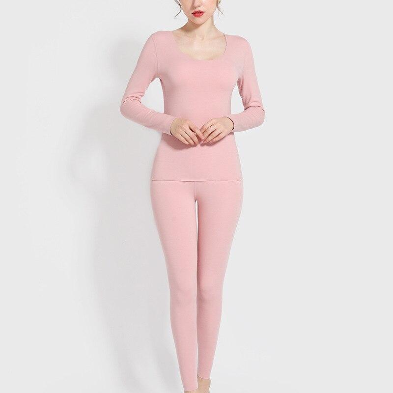 2019 Winter Ladies Thermal Underwear Long Sleeve+Trousers Sleepwear Suit Female Slim Plus Velvet Warm Thick Thermo Underwear Set