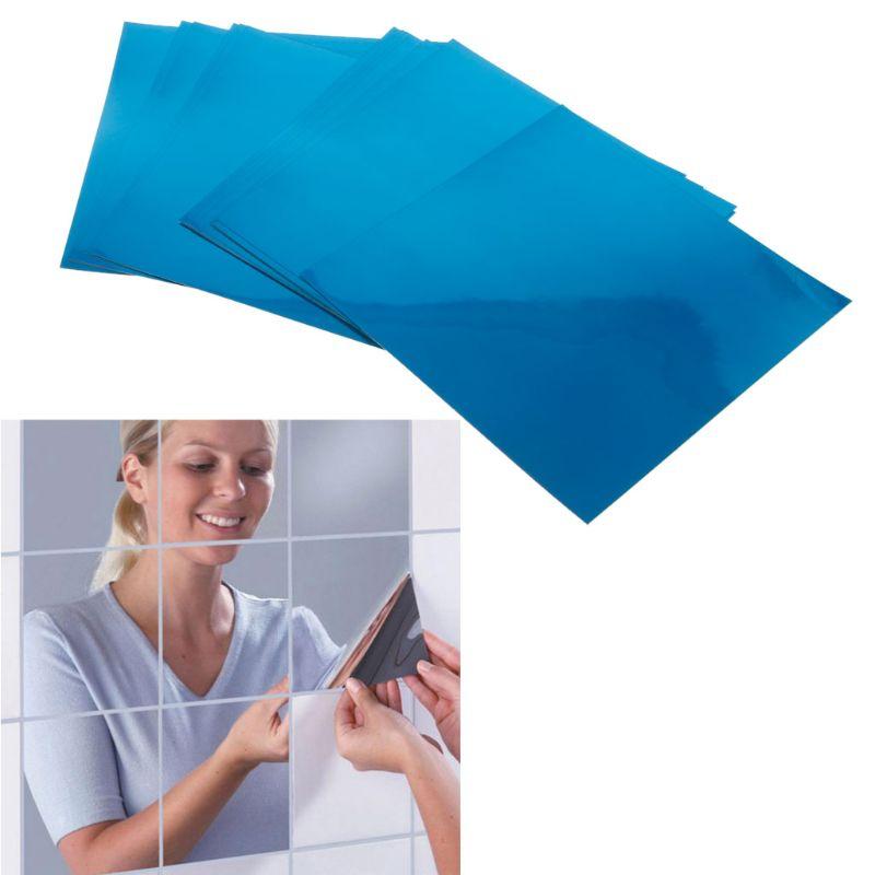 16Pcs Removable Square Flexible Mirror Wall Stickers Home Decor Non Glass Mirror 50PB