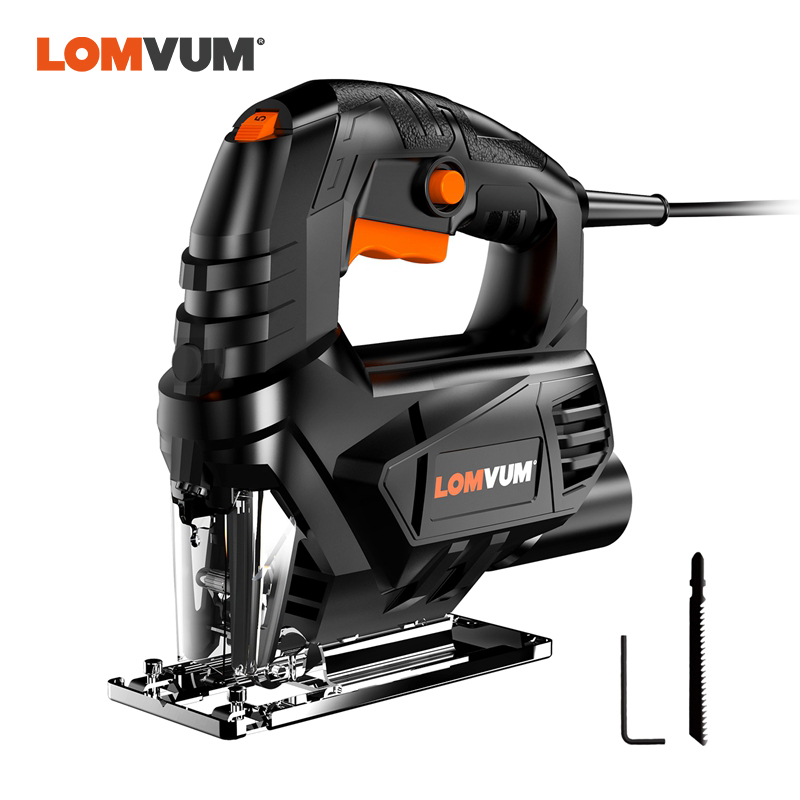 LOMVUM Jigsaw Electric EU UK Jig Saw For Woodworking Variale Speed Electrical Saw 110V/220V Cutting Metal Wood Aluminum Work Jig