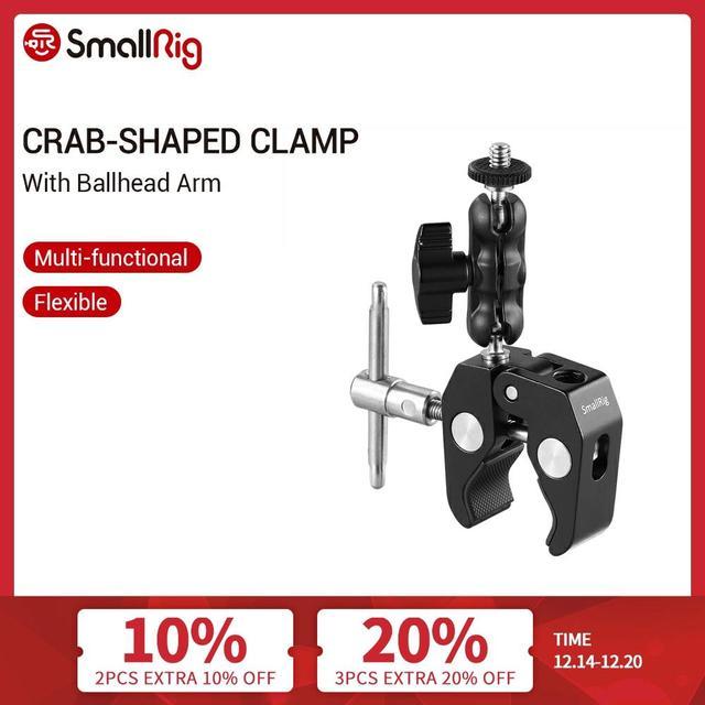 Smallrig Multi Functionele Krab Vormige Klem Met Balhoofd Arm Voor Dji Stabilizer/Freefly Stabilizer/Video C Stand Clamp Kit 2161