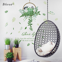 New Green Leaves Flower Basket Bouquet Wall Stickers Home Decor Living Room Removable Sticker Scandinavia Modern