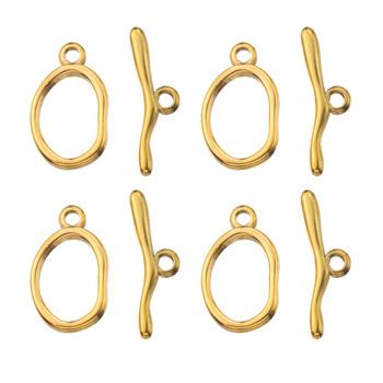 4 zestaw złota stal nierdzewna zakrzywione OT klamrami przetyczka klamry ustalenia klamra złącze do bransoletki naszyjnik elementy do wyrobu biżuterii tanie i dobre opinie Aiovlo CN (pochodzenie) 2 1g I haczyki klamry DIY Bracelet Metal STAINLESS STEEL stainless steel clasp Jewelry Findings