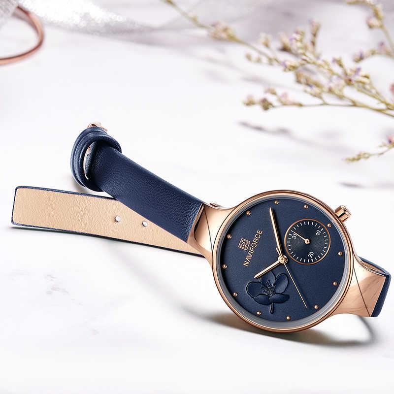 Zegarki damskie NAVIFORCE Luxury Brand Fashion zegarek kwarcowy damskie kryształ górski zegarek na rękę prosty niebieski zegar Relogio Feminino