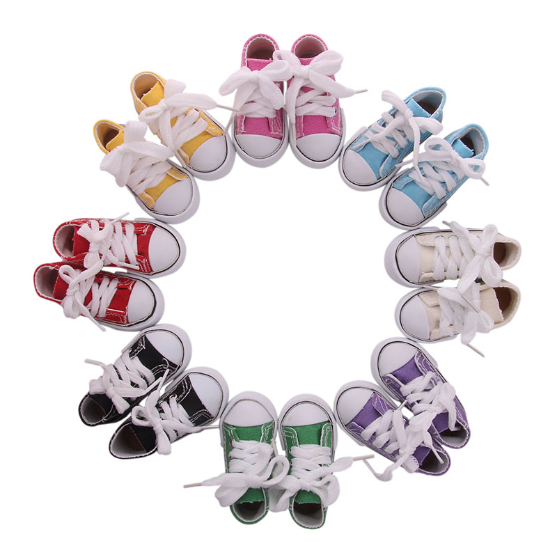 Doll Shoes 7.5 Cm 8 Colors Fashion Canvas Shoes Plush Toy Doll Clothes Accessories Our Generation Christmas Birthday Girl's Gift