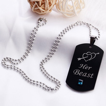 2020 Couple Necklace Her Beast His Beauty An Arrow Piercing Pattem Pendant Titanium Steel Long Chain For Lover