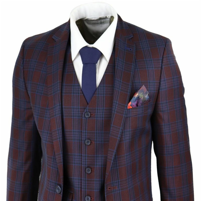 2020 Harry Brown Wine Blue Mens Suits Check 3 Piece Slim Fit Men Suit Wedding Prom Party Vintage Retro  terno masculino