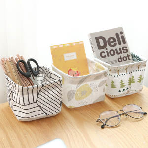 Storage-Basket Linen Desktop Cotton New Fashion Sundries with Handle Table-Contain Multi-Function