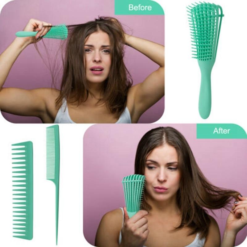 Detangler escova de cabelo detangling pente molhado