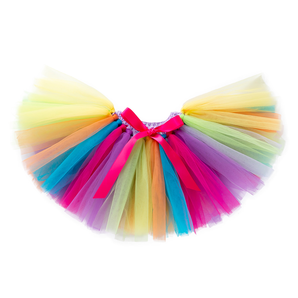 New Baby Girls Skirts Tutu For Birthday Gift Colourful Customized Mesh Skirt Party Pettiskirt Kids Saias Clothes Rainbow Skirt