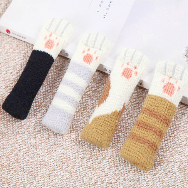 4PCS Cat Paw Knit Table Chair Foot Leg Sleeve Cover Anti-Slip Socks Protector