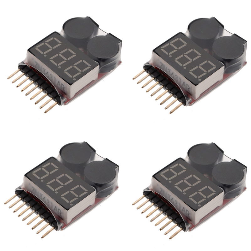 4PCS 1S-8S Battery Voltage Meter Tester Lipo Battery Monitor Buzzer Alarm For RC Drone Helicopter