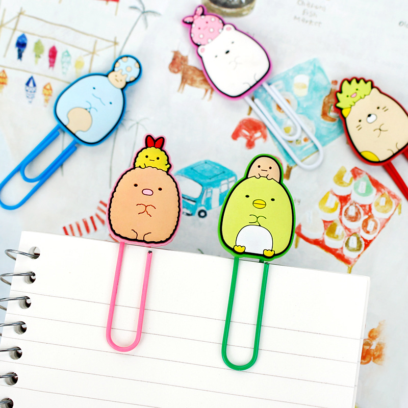 5 Pcs/pack Sumikko Gurashi Cute Cartoon Silicone Paper Needle Paper Clip Photo Clip Memo Note Clips Office Supplies