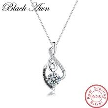 [BLACK AWN] Femme подлинные 925 пробы Серебряные Ожерелья Подвески Ювелирные изделия ЧЕРНЫЕ& ожерелье из белых камней женские ювелирные изделия P081