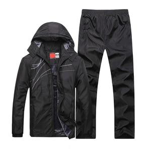 Image 4 - Novos conjuntos de inverno além de veludo masculino ternos do esporte conjunto de fitness treino quente zip bolso casual terno roupas masculinas