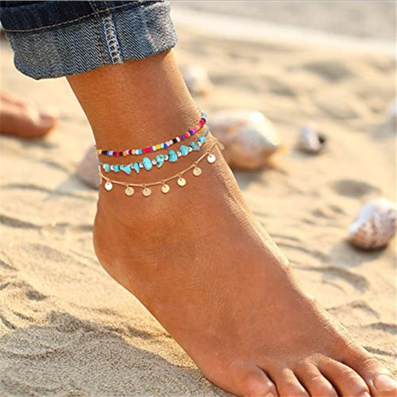Anklets for Women Girls Color Beads Drop Sequin Charm Adjustable Ankle Bracelets Set Boho Multilayer Beach Foot Jewelry